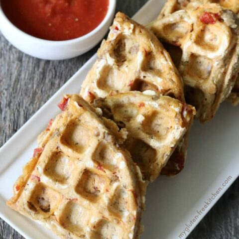 Gluten-free Pizza Waffles. Recipe free of dairy and the top 8 allergens too! My familly loved these with pepperoni and sausage! Great for gluten-free lunches!
