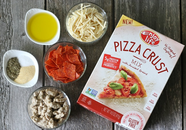 Ingredients for gluten-free pizza waffles