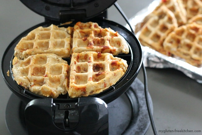 Making gluten-free pizza waffles