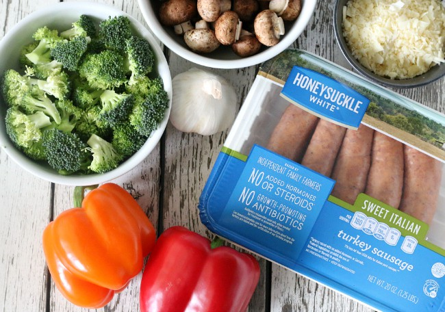 ingredients for gluten-free grilled sausage foil packets
