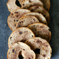 Gluten-free Cinnamon Raisin Bagel Chips {Dairy-free too}
