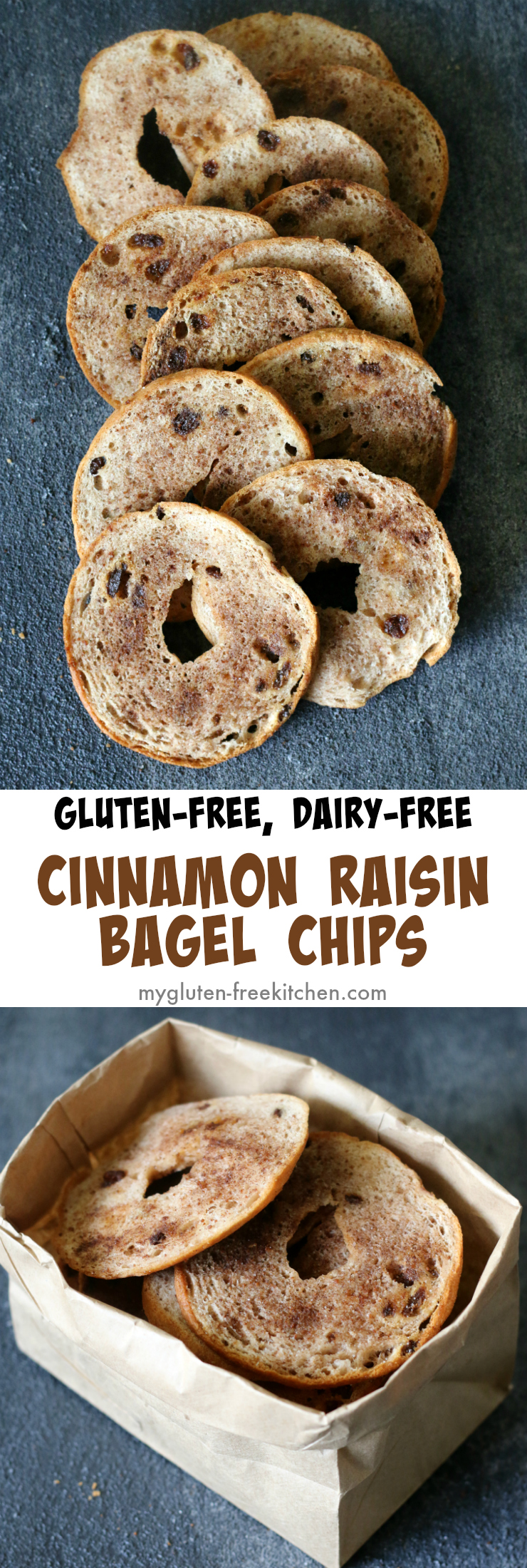 Gluten-free Dairy-free Cinnamon Raisin Bagel Chips - Crunchy snack that's allergy friendly. Great for school lunches or backpack snacks!