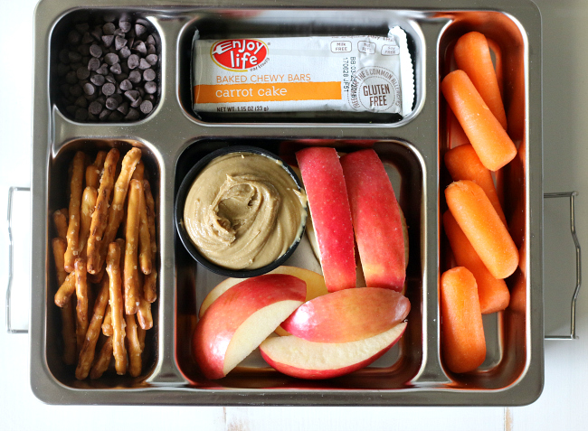 Gluten-free Top 8 Free Lunch Idea Sunseed butter gf pretzels fruit