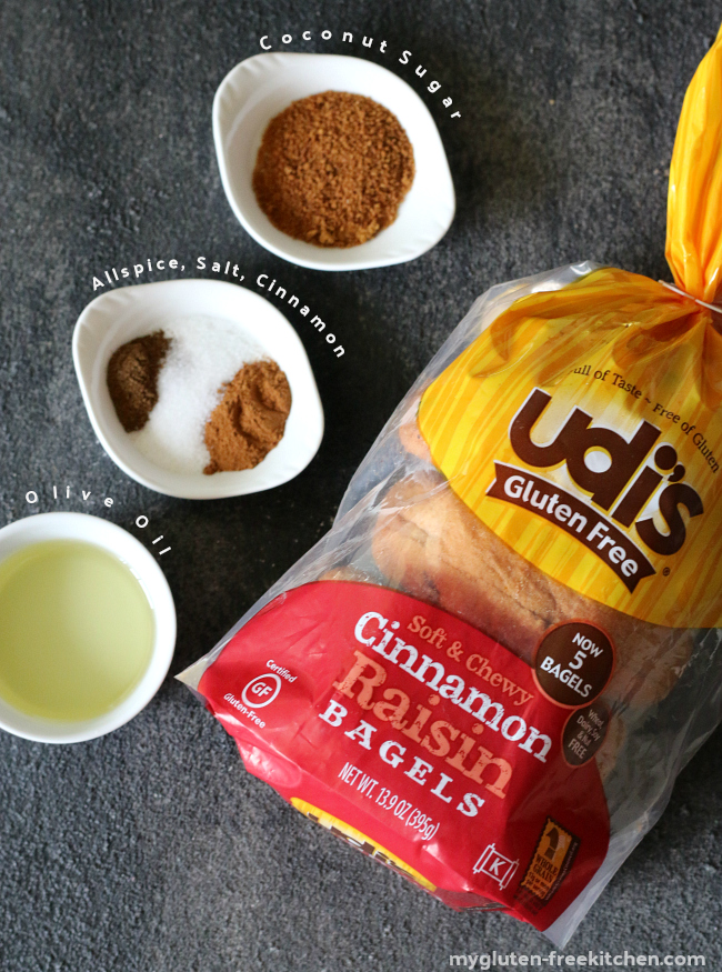 Udi's Gluten Free Cinnamon Raisin Bagels made into bagel chips