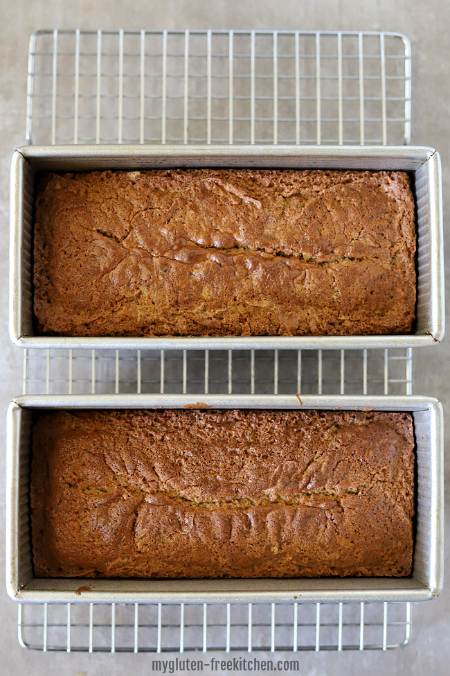 2 loaves of gluten-free zucchini bread in pans
