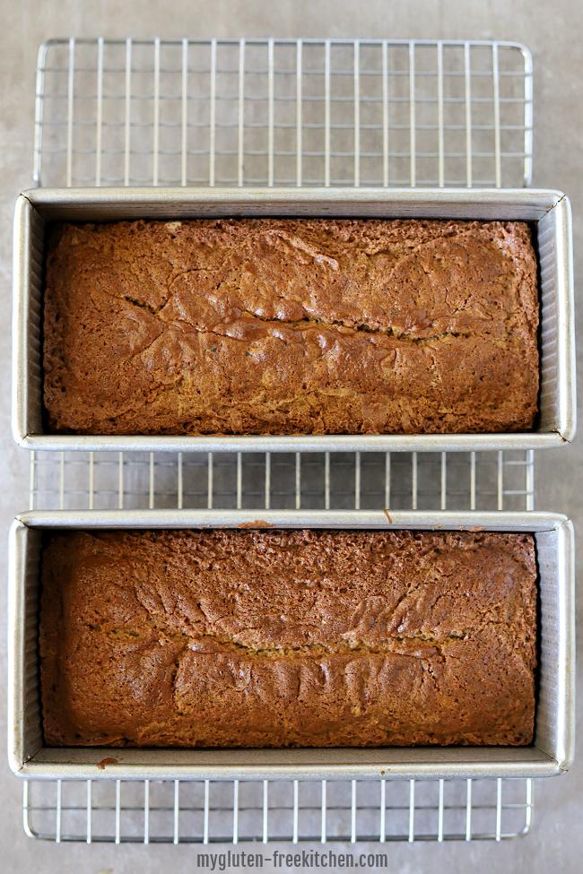 2 loaves of gluten-free zucchini bread in pans