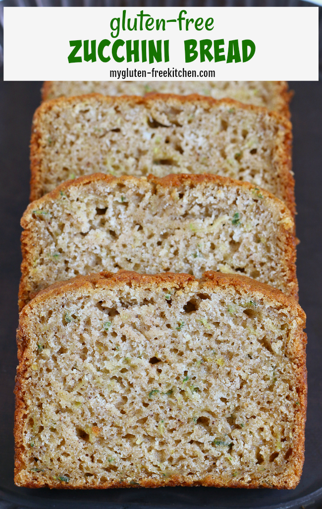 Slices of gluten-free zucchini bread on platter