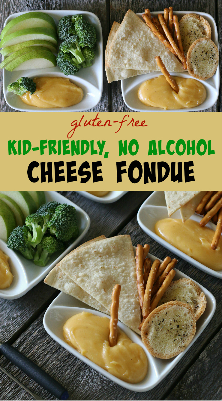 cheese fondue served with gluten-free pretzels and broccoli and peppers