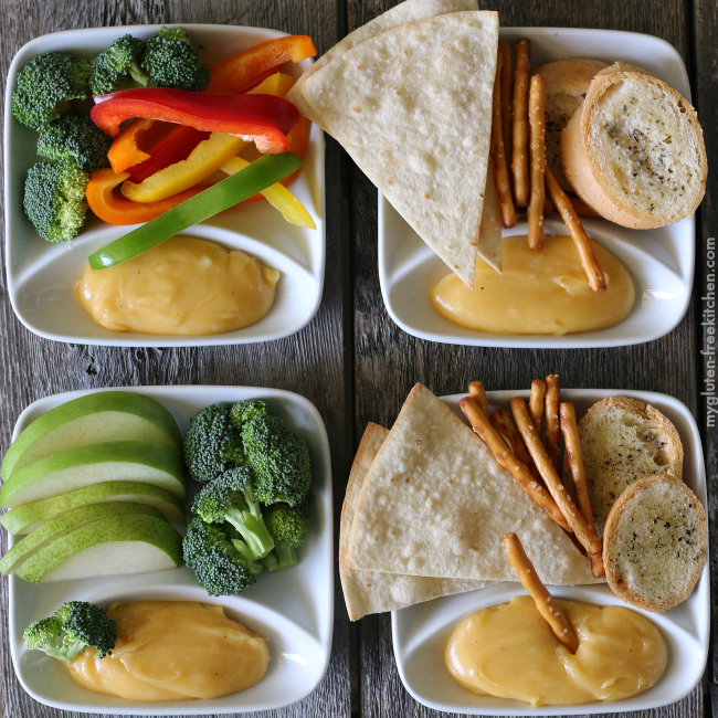 Cheese Fondue with gluten-free dippers