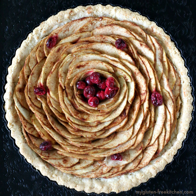 Gluten-free Apple Pear Tart in almond pie crust.