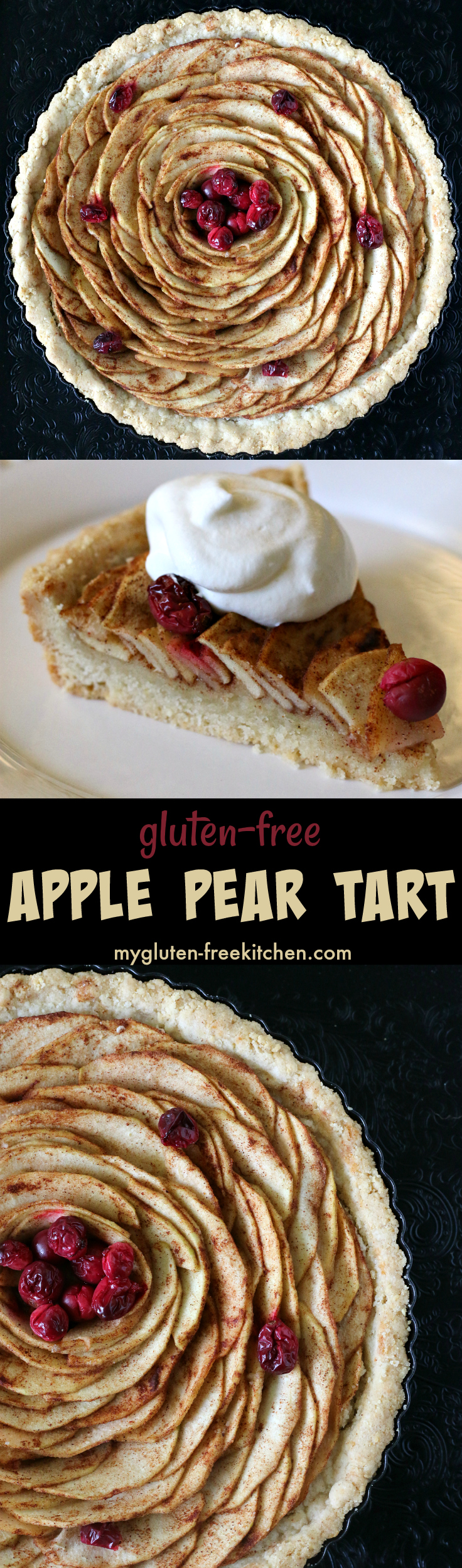 Gluten-free Apple Pear Tart with Cranberries recipe for fall. #glutenfreerecipe