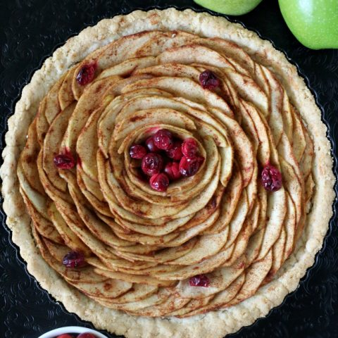Gluten-free Apple Pear Tart with cranberries in a gluten-free almond pie crust.