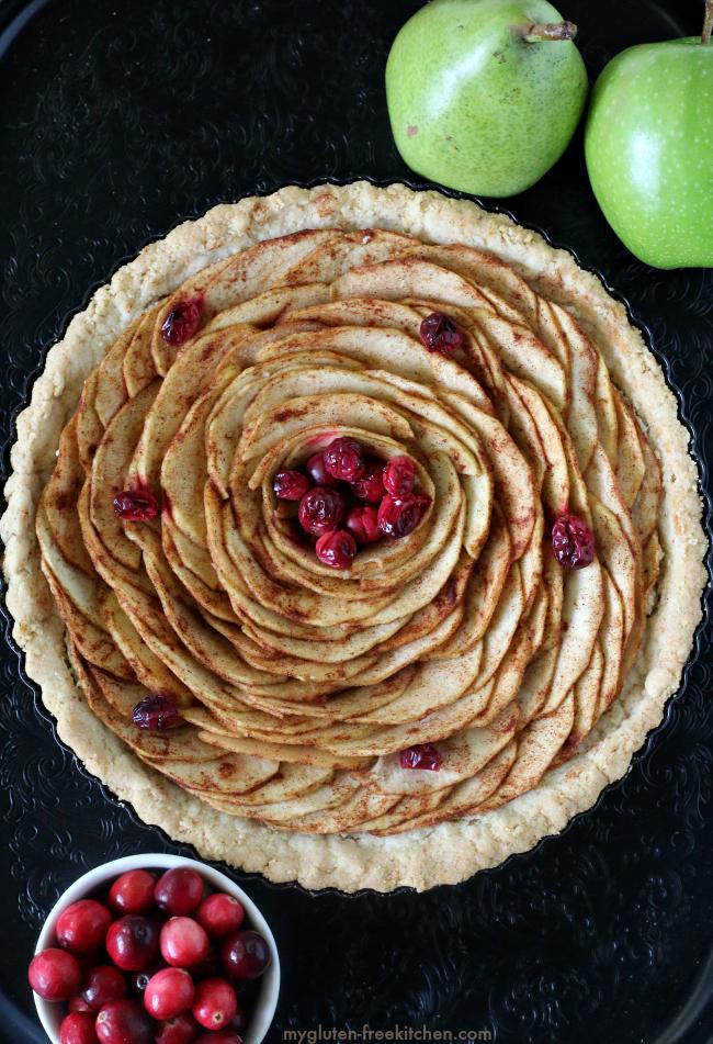 Gluten-free Apple Pear Tart with cranberries in a gluten-free almond pie crust.