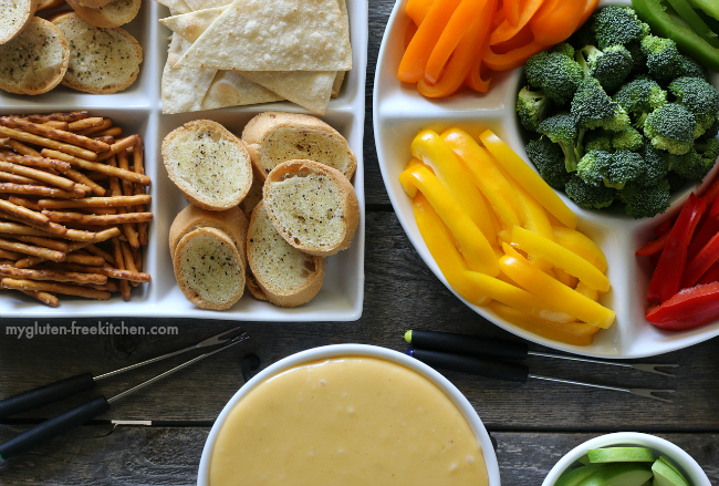 Gluten-free Cheese Fondue with Gluten-free Dippers kid-friendly