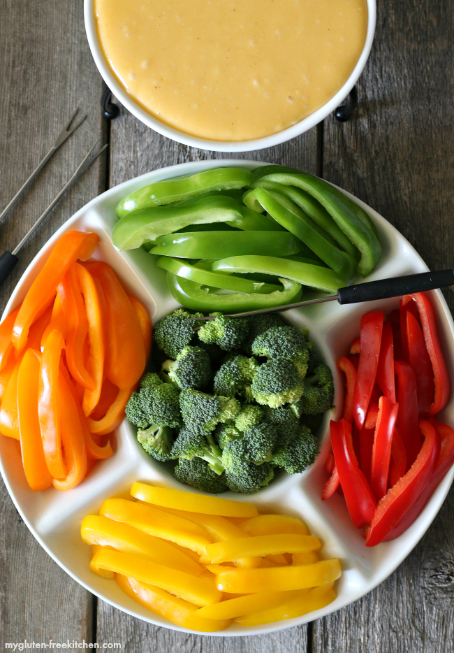Gluten-free Cheese Fondue with vegetables