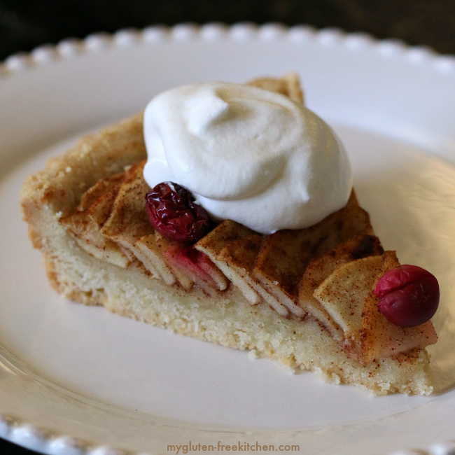 Slice of gluten-free apple pear tart