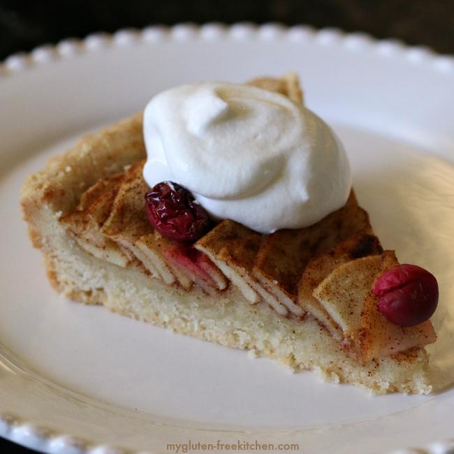 Slice of gluten-free apple pear tart