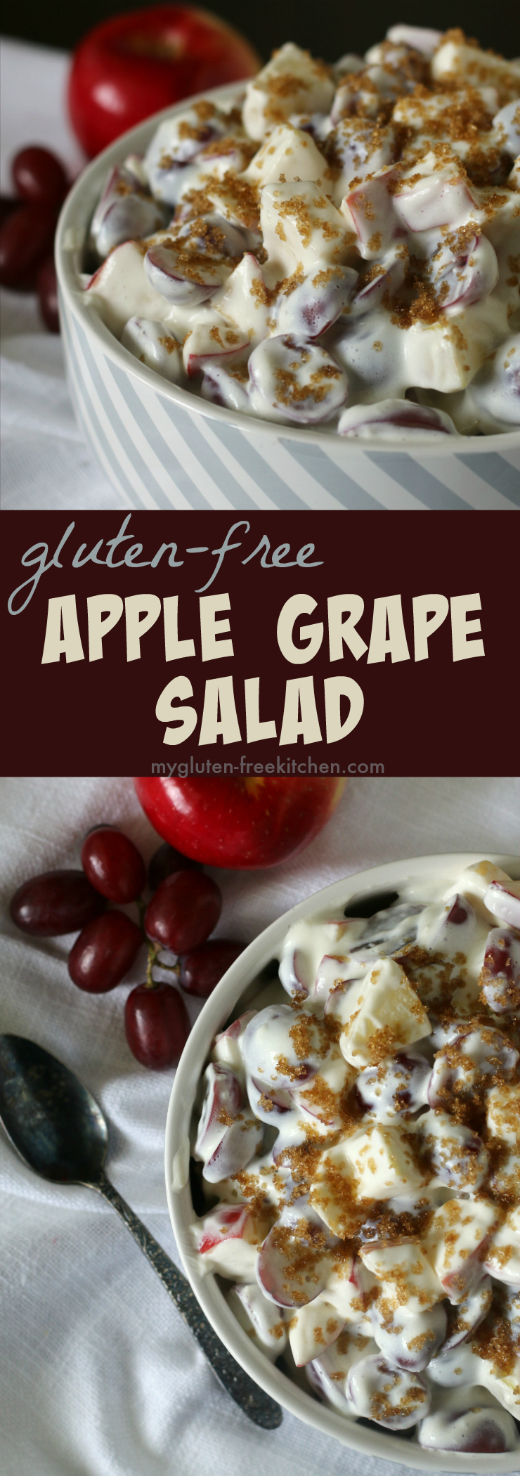 Apple Grape Salad naturally gluten-free recipe. Favorite side dish throughout the year!