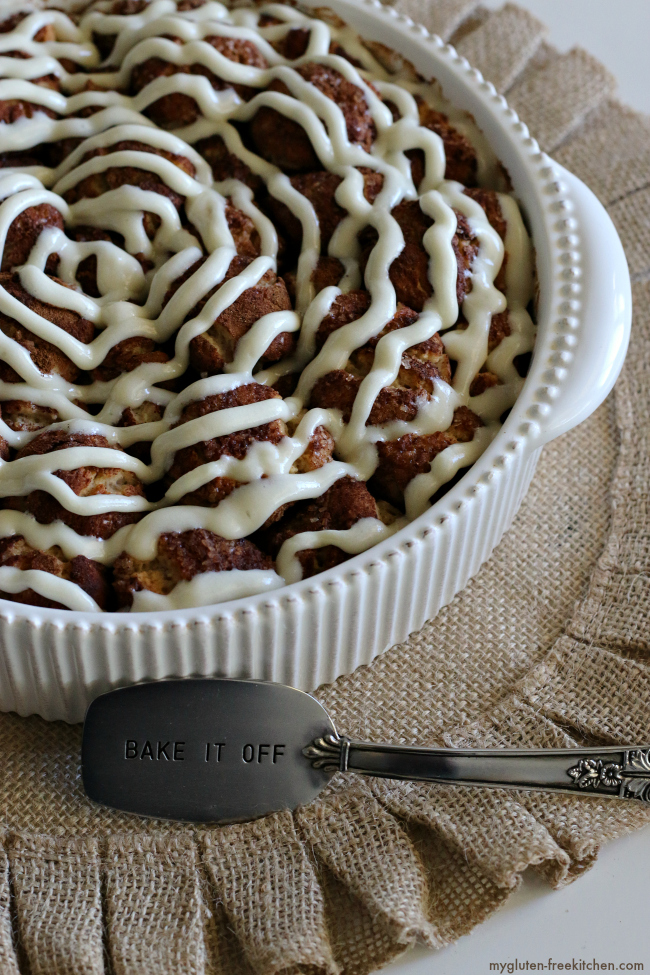 Gluten-free Pull-apart Cinnamon Rolls with cream cheese frosting