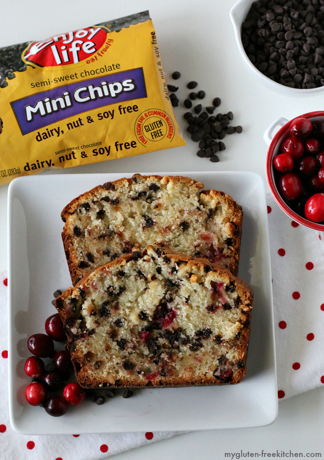 Gluten-free Cranberry Chocolate Bread with Enjoy Life mini chips