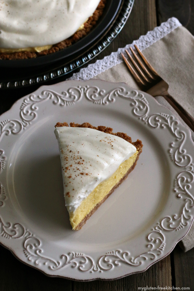 Gluten-free Eggnog Pie Recipe. The gluten-free snickerdoodle crust is perfect!