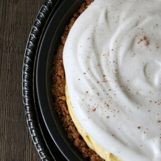 Gluten-free Eggnog Pie with Snickerdoodle Crust