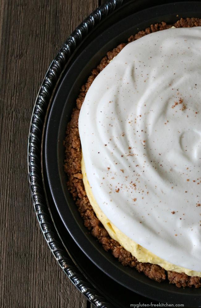 Gluten-free Eggnog Pie with Snickerdoodle Crust