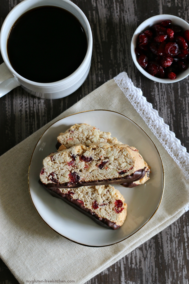 Chocolate Dipped Gluten-free Almond Cranberry Biscotti on plate with cup of coffee