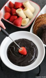 Chocolate Peanut Butter Fondue with fresh fruit and gluten-free dippers