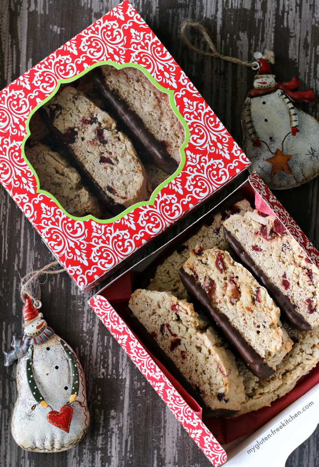Gluten-free Almond Biscotti with Chocolate in a box for Christmas gifting