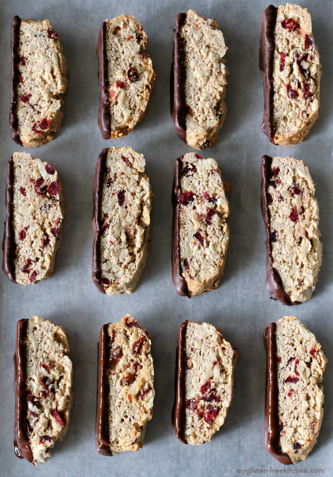Gluten-free Almond Biscotti sliced on baking sheet