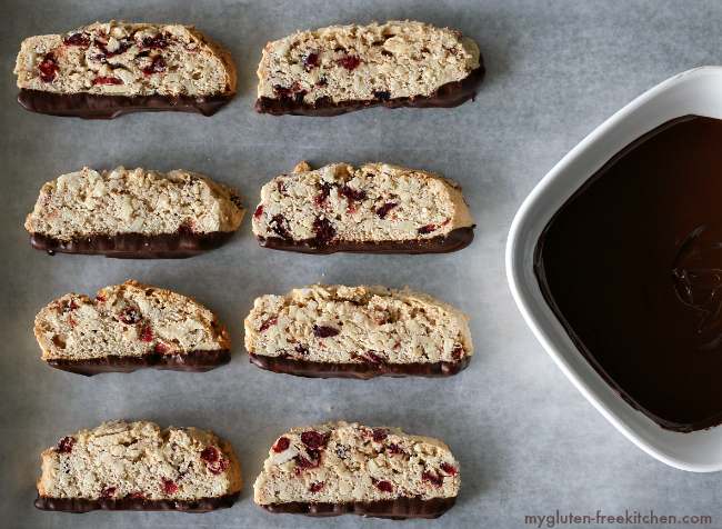 Gluten-free Chocolate Dipped Almond Biscotti