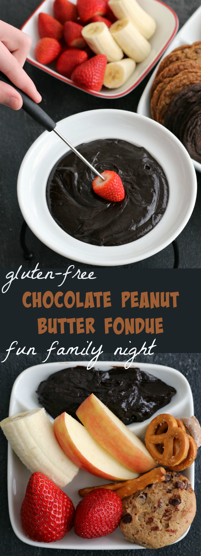 Gluten-free Chocolate Peanut Butter Fondue - Fun Family Night recipe for dessert