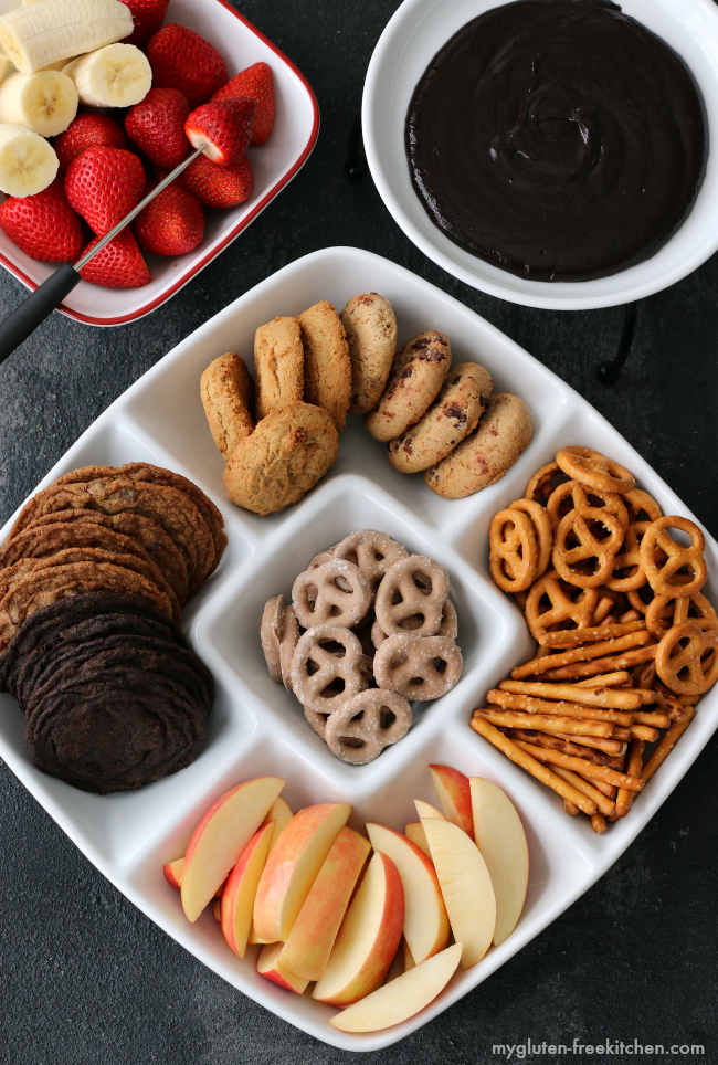 Gluten-free Chocolate Peanut Butter Fondue with gluten-free dippers