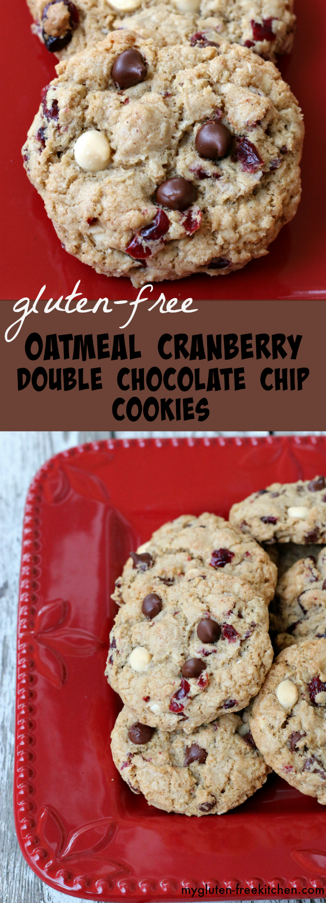 Gluten-free Oatmeal Cranberry Double Chocolate Chip Cookies recipe