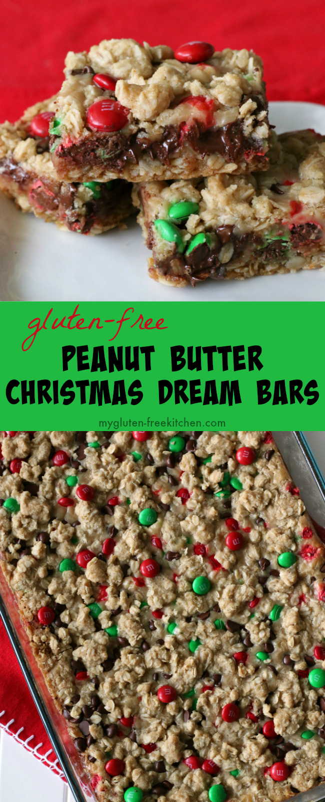 Gluten-free Peanut Butter Christmas Dream Bars recipe,