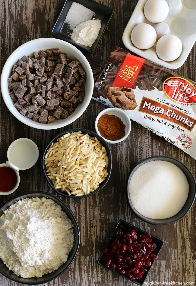 Ingredients for Chocolate Dipped Gluten-free Almond Biscotti