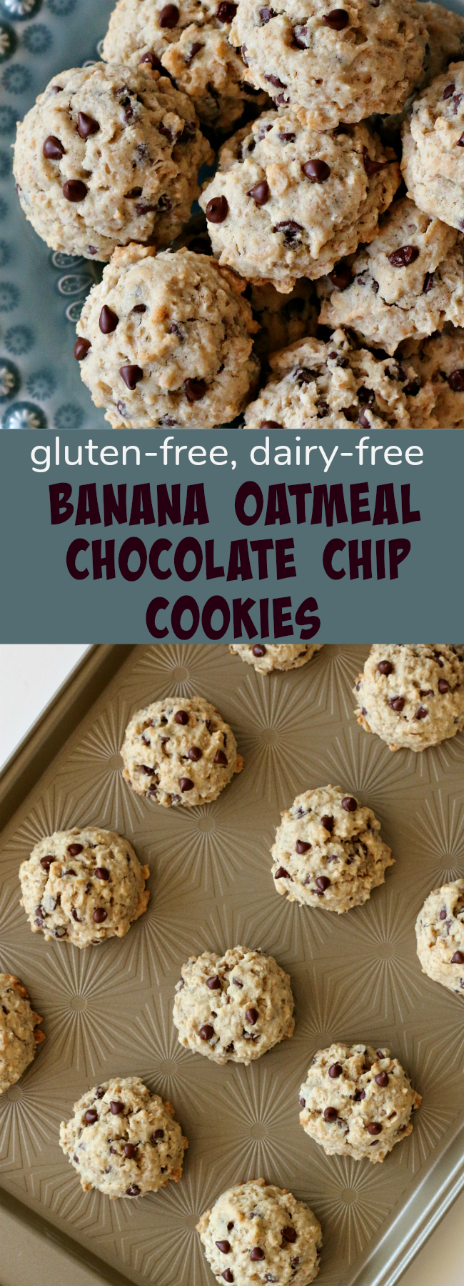 Gluten-free Dairy-free Banana Oatmeal Chocolate Chip Cookies Recipe