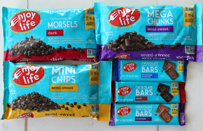 Enjoy Life Foods certified gluten-free chocolate new teal packaging