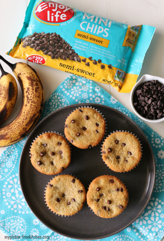 Gluten-free Dairy-free Banana Chocolate Chip Muffins with mini chips from Enjoy Life