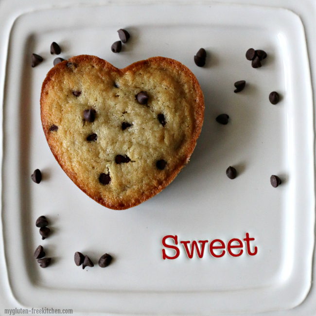 Heart shaped gluten-free banana chocolate chip muffin