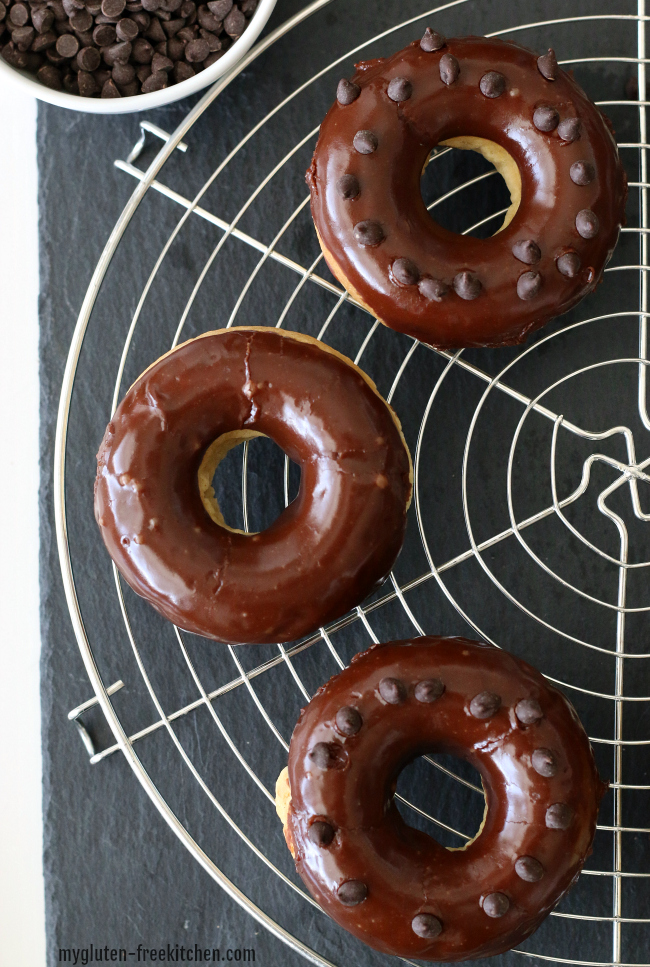 Gluten-free Chocolate Frosted Doughnut Recipe.