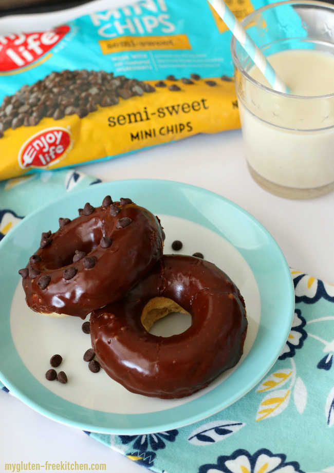 Gluten-free Dairy-free Chocolate Frosted Donuts
