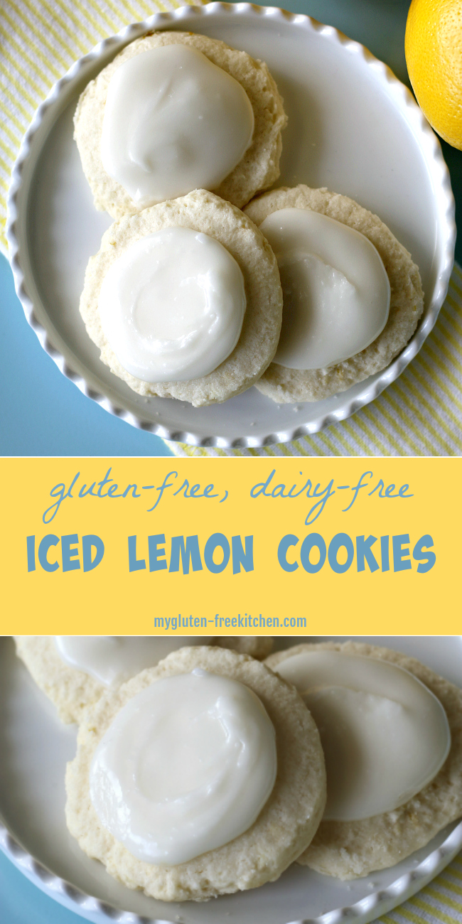 Gluten-free Dairy-free Iced Lemon Cookies. Yummy recipe that makes 5 dozen small cookies.