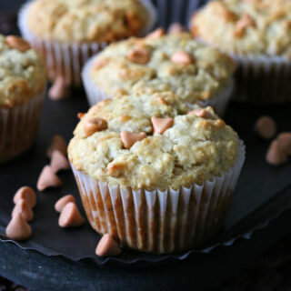 Gluten-free Banana Butterscotch Oatmeal Muffins. We loved these muffins that are a fun change from the usual banana muffins.