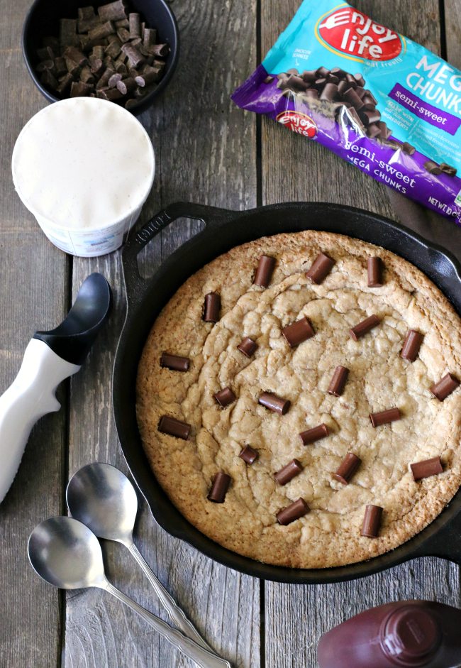 Gluten-free Dairy-Free Chocolate Chunk Skillet Cookie with Enjoy Life mega chunks