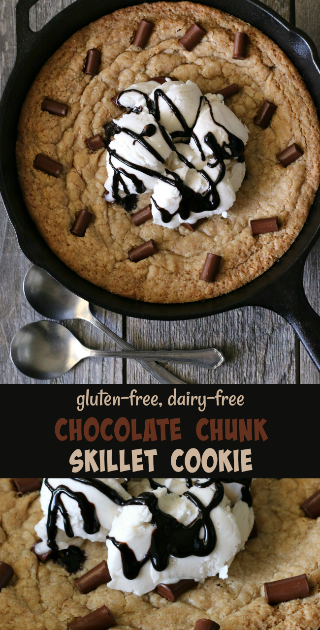 Gluten-free Dairy-free Chocolate Chunk Skillet Cookie Recipe. Baked in a cast iron skillet and served warm, topped with dairy-free or regular ice cream!