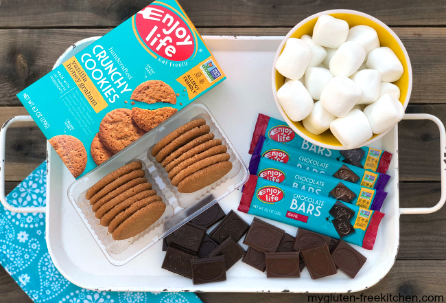 Gluten-free Backyard S'mores with Enjoy Life honey graham crackers and chocolate