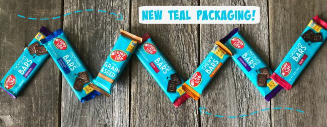 Enjoy Life Bars in new teal packaging