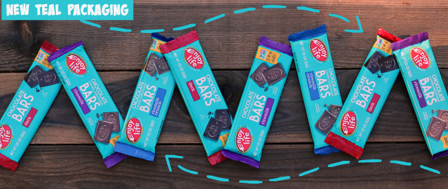 Enjoy Life Chocolate Bars New Teal Packaging